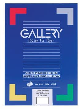 Gallery witte etiketten ft 210 x 297 mm (b x h), rechte hoeken, doos van 100 etiketten