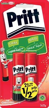 Pritt plakstift blister van 2 stuks van 22 g, 2de aan halve prijs