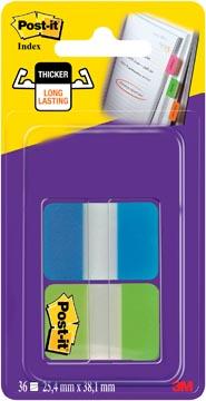 Post-It Index Strong, ft 25,4 x 38,1 mm, 8 tabs per kleur, 2 kleuren per dispenser